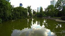 Flug über Teich im Park - Drohnen Aufnahme 01